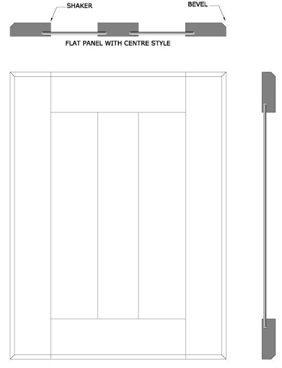 line drawing of Texada shaker kitchen door