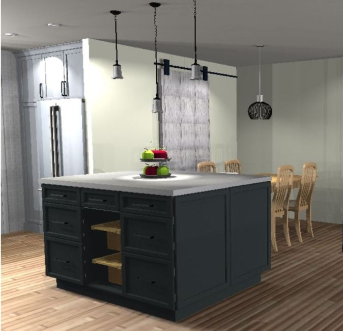 rendering of proposed kitchen island, pantry door and food storage area