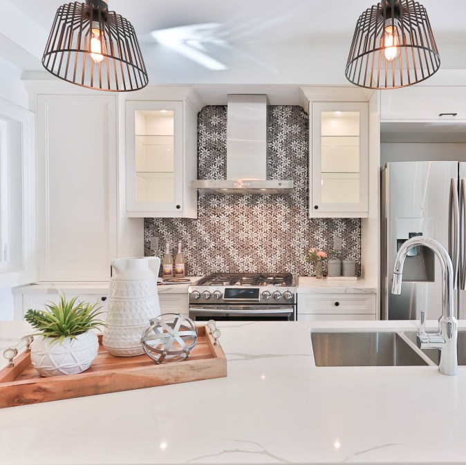 patterned backsplash as a focal point in white kitchen