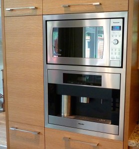 built in microwave and coffee machine