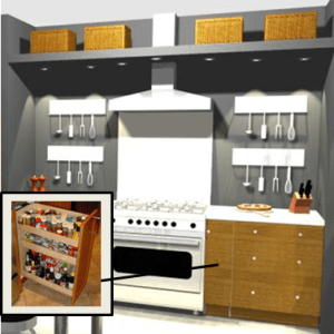 range built into a niche with wall hung utensil holders