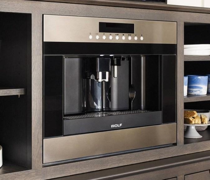 coffee machine built into millwork
