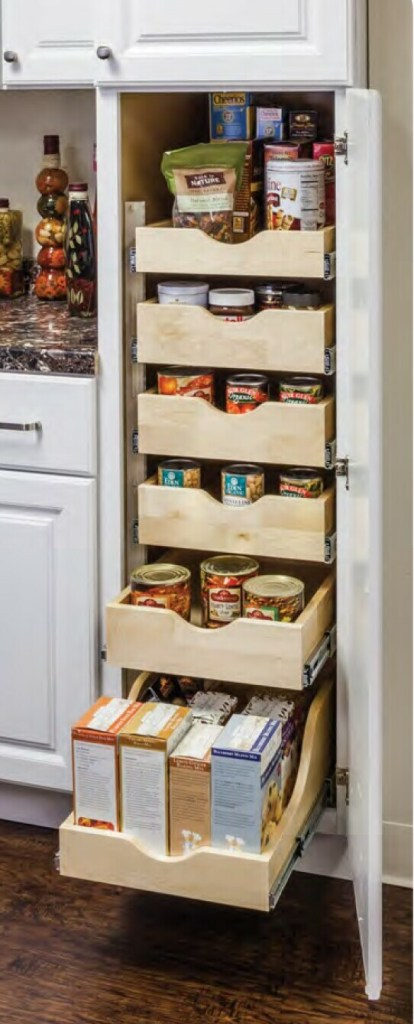 wood rollouts in a pantry