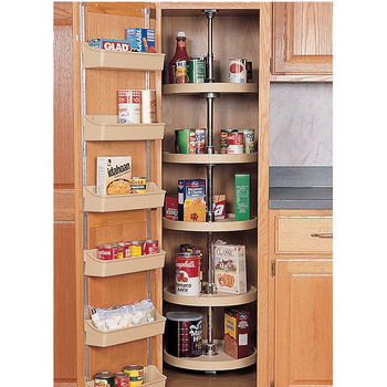 pantry storage for a single door corner pantry