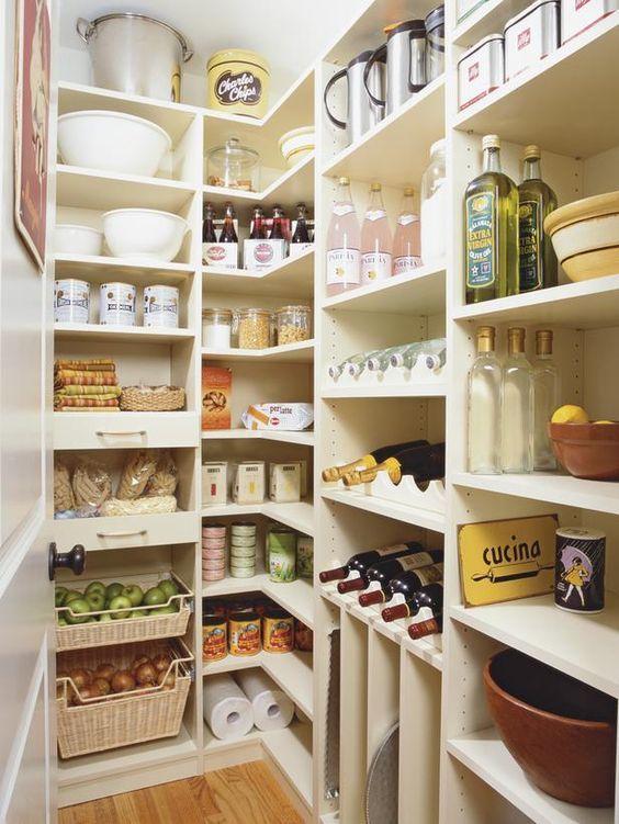 wood shelves in walk-in pantry