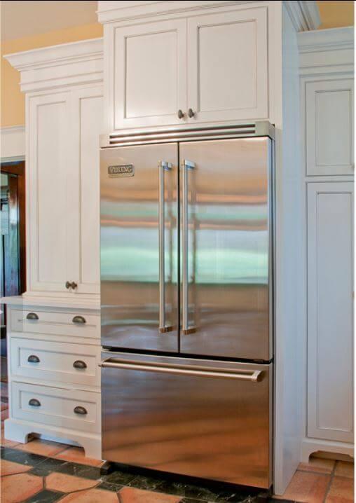 bottom mount fridge in stainless steel