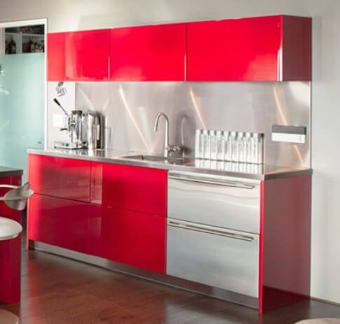 Red cabinetry for beverage bar