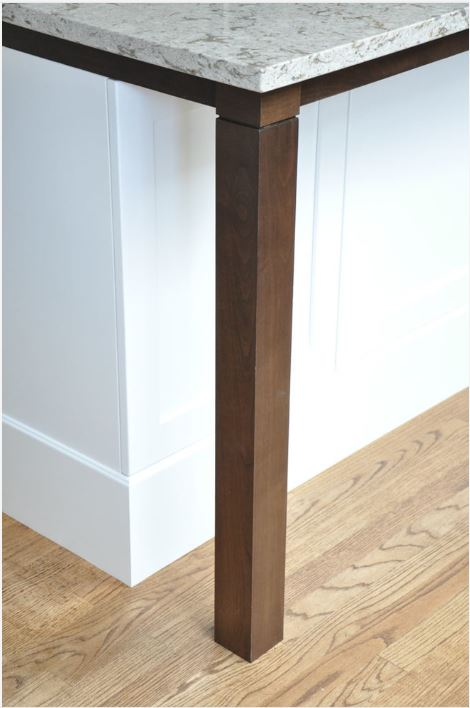 stained support post and apron