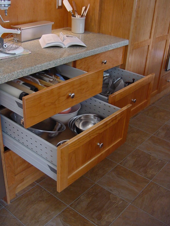 drawers providing storage in the prep zone