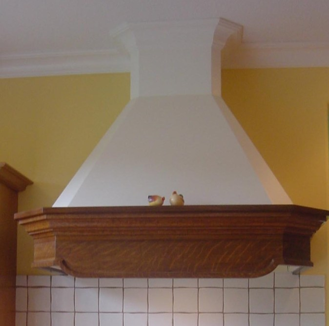 Hood made from wood furniture piece and plaster