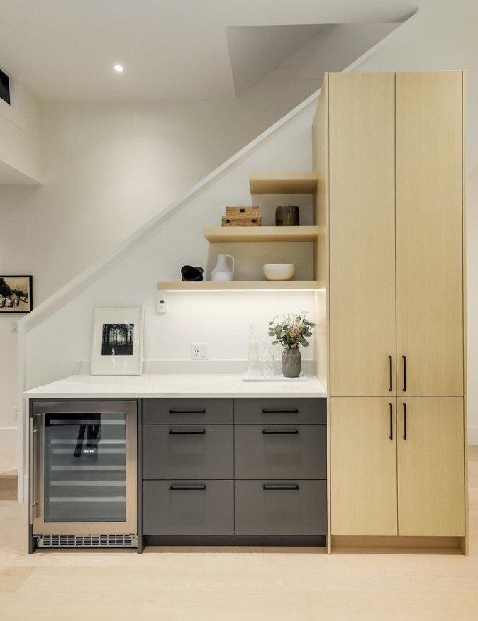 cabinets on stairwell wall