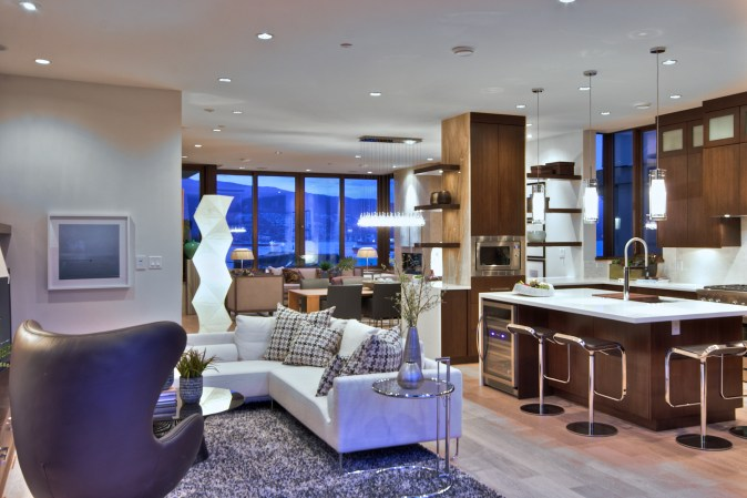 Layout of the greatroom in a west coast contemporary design