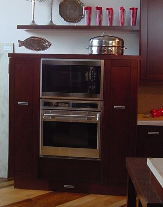 transitional style mid height cabinets for ovens