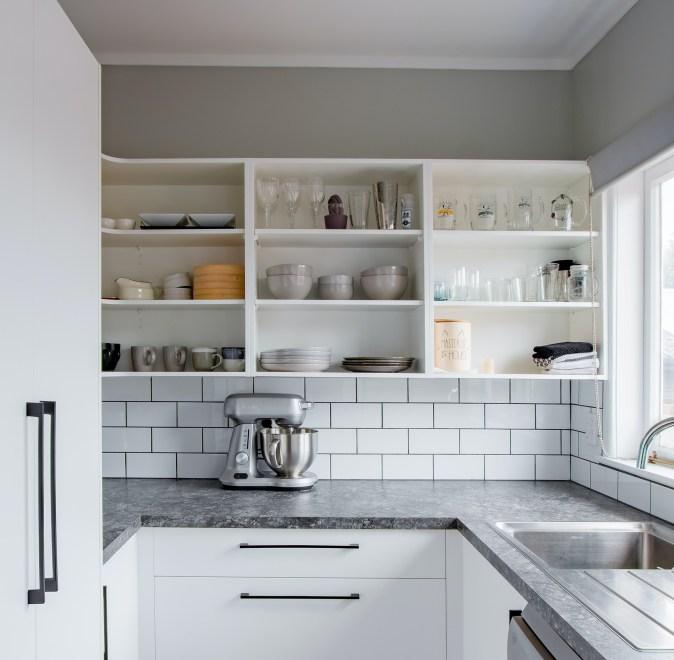Open shelves in white