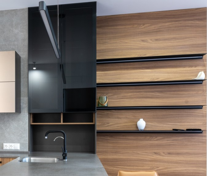 Open shelves in dining area