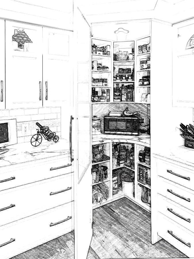Corner pantry with single door