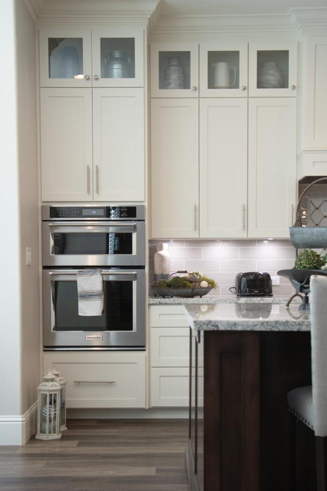 counter landing area beside double ovens