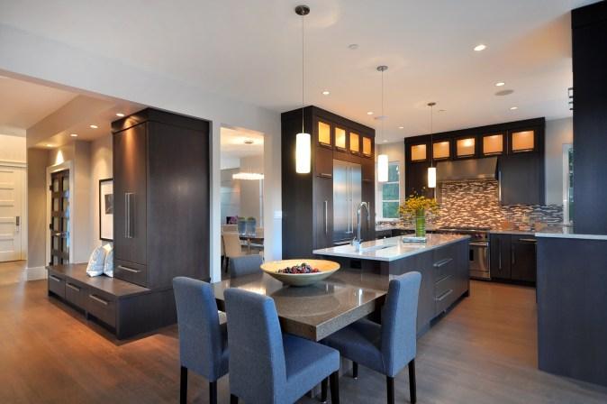 Vestabul designed kitchen and mini mudroom in high end spec home.