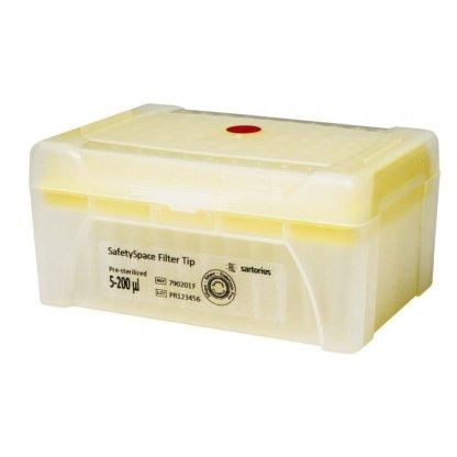 200mkl 790201F - Наконечники 200 мкл для дозаторов Sartorius BIOHIT с фильтром SafetySpace, 52.5 мм, стерильные, в штативе 10х96 шт.