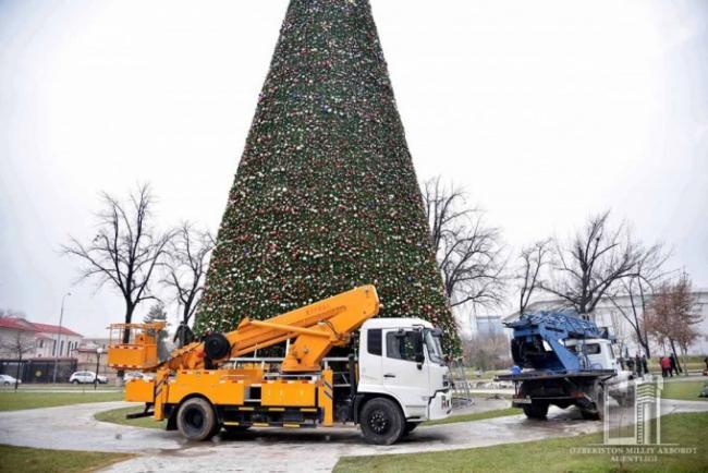 В Ташкенте установили главную елку страны в 35 метров