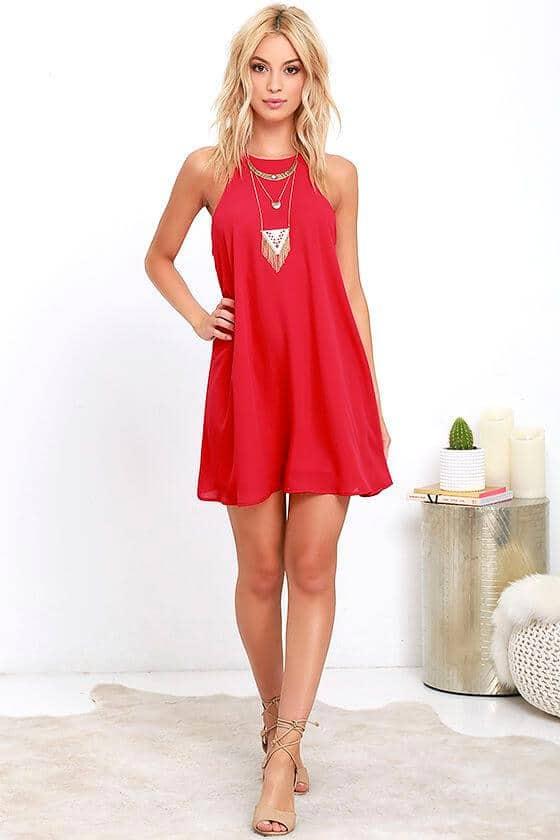 Juveniles Vestidos Cortos Rojos