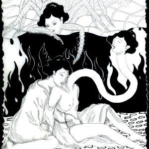 """Friendly Fire"" | Eriko Hattori | Pen on paper | 15″ x 11″ Framed"
