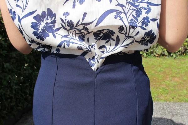 Camicetta blusa a fiori blu anni 40