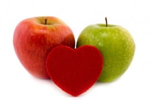 two apples and heart
