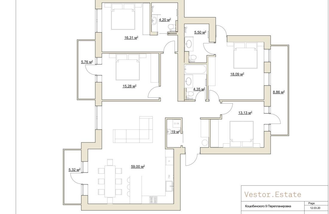 Mykhaila Kotsyubyns'koho 9 apartment plan