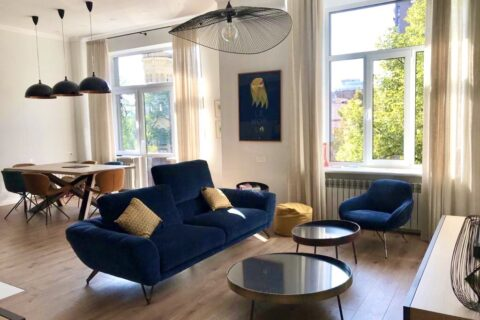 blue sofa in living room