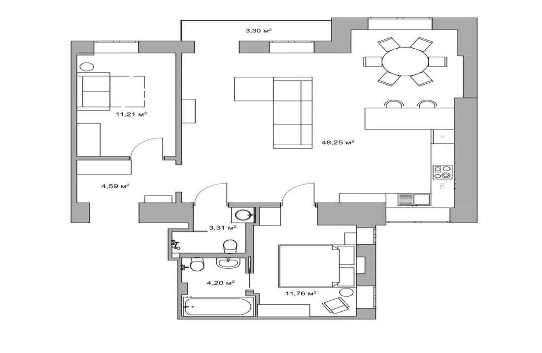ivana franko 20B apartment plan