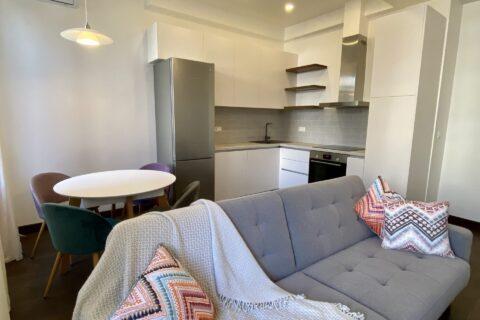 grey sofa in living-kitchen zone