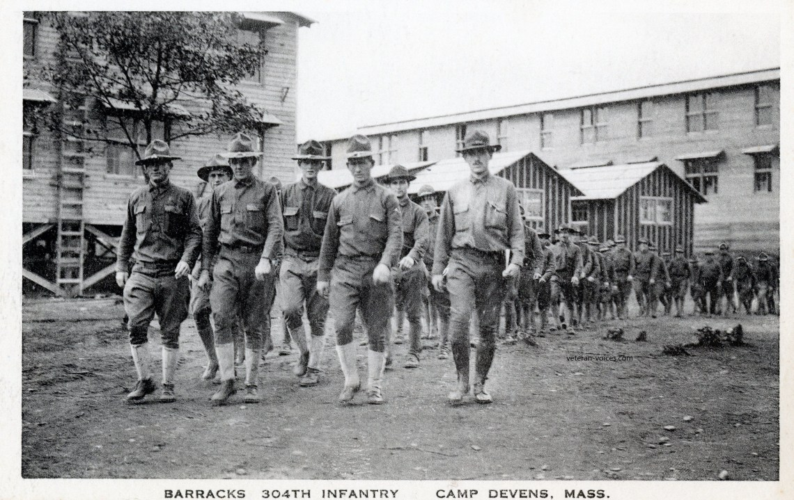 """Barracks, 304th Infantry, Camp Devens, Mass."" World War I"