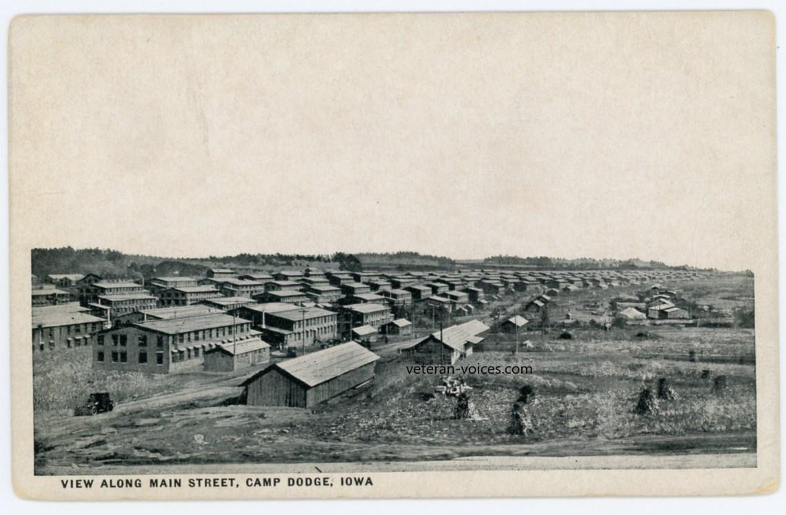 """""""View Along Main Street, Camp Dodge, Iowa"""" World War I"""