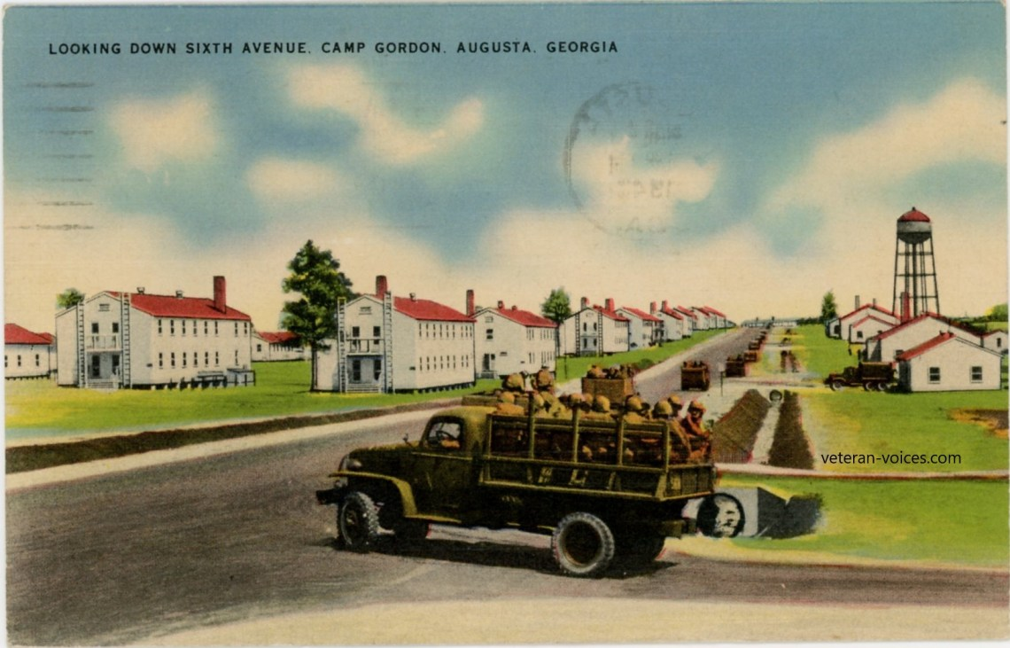 """Looking Down Sixth Avenue, Camp Gordon, Augusta, Georgia"" World War II"
