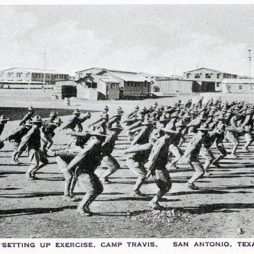 Soldiers performing calesthenics as part of training at Camp Travis.