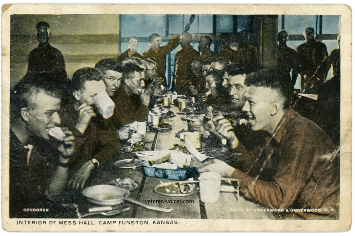 """Interior of Mess Hall. Camp Funston, Kansas"" World War I"