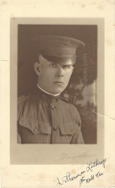 A photograph of Pvt. John Sherman Lathrop, Battery F, 149th Field Artillery Battalion, 42nd Infantry Division. World War I. Veteran-Voices.com