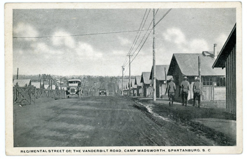"""Regimental Street on the Vanderbilt Road, Camp Wadsworth, Spartanburg, S.C."""