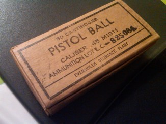 This box of .45 cal pistol ammo is in pristine condition.