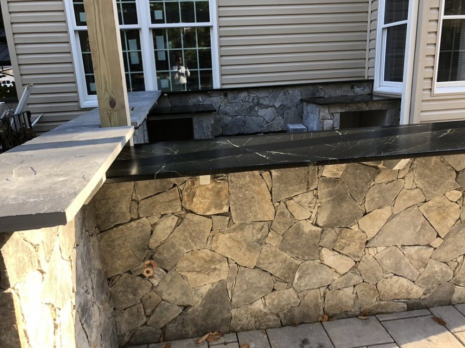 outdoor stone mosaic counter