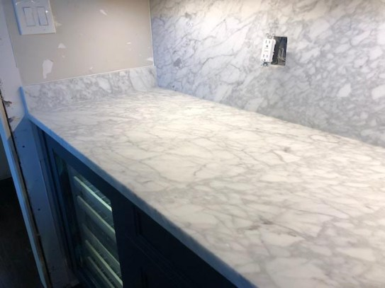 Another image of the new white cracked counter top