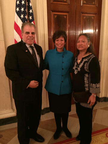 Veterans Village Founder, Arnold Stalk and United States Navy Veteran Cindy Dias, Las Vegas Veterans Village resident and honored guests of First Lady Michelle Obama With Valerie Jarrett, Senior Advisor to President Barak Obama at The White House.