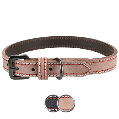 Luxury Leather Dog Collar Large Cream Coloured