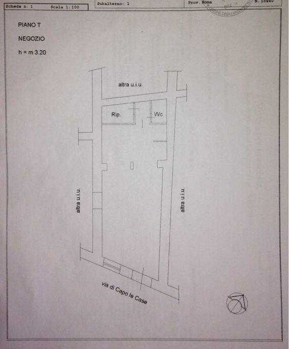 Planimetria Affitto Negozio Roma Zona Piazza di Spagna