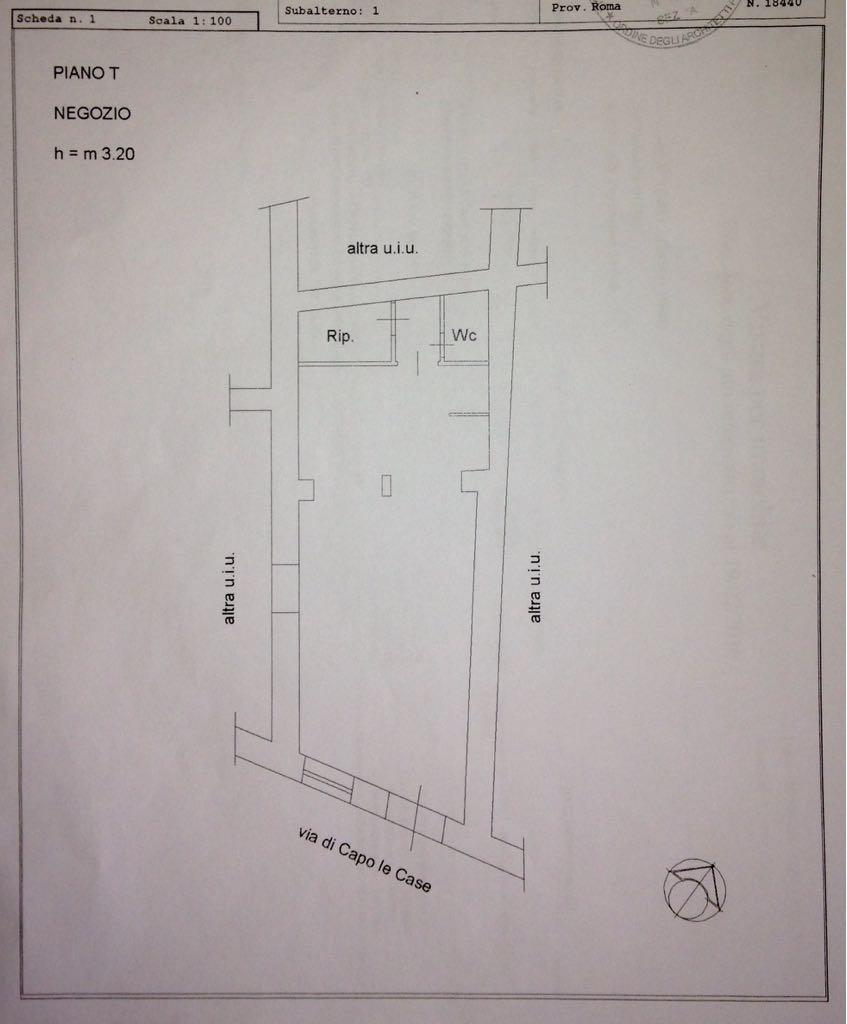 Planimetria Affitto Locale Commerciale 66 mq Via Capo le Case Roma - Zona Piazza di Spagna