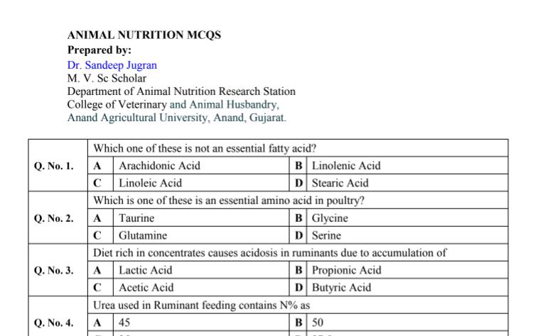 ANIMAL NUTRITION MCQS • 10 Question Banks Needed For ICAR AIEEA [Pdf]