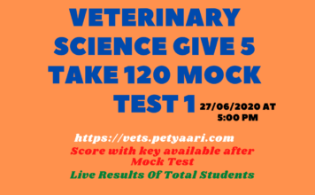 Veterinary Science Give 5 Take 120 Mock Test 1