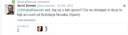 Domen Savič Milojka Balevski tvit