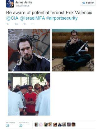 Janša tvit Valenčič potencialni terorist